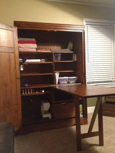 armoire with fold out table google search for the home. Black Bedroom Furniture Sets. Home Design Ideas