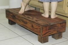 "Double Wide Step Stool - 30"" Reclaimed Wood, Made for 2 Children, Rustic kids bench Seat, Great for potty, bathroom, kitchen"