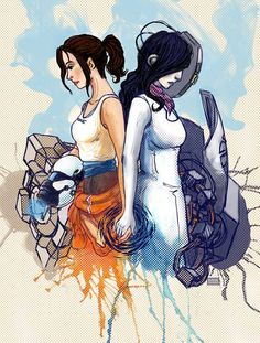 """""""Portal 2: Duo"""" Portal 2 is one of my favorite games. :D This and other artwork is also on my website at www.ranaleahgainer.com"""