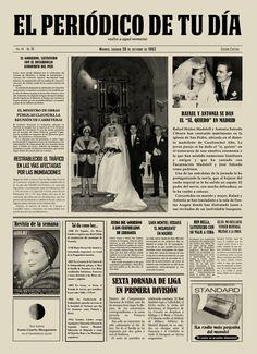 """Rafael y Antonia se dan el """"Sí, quiero"""" en Madrid. Los protagonistas se emocionaron al recibir El Periódico de Tu Día en su aniversario. Un regalo original que emocionó a todos en la ceremonia. Recuerda que para sorprender a tus seres queridos podéis buscar regalos de cumpleaños, regalos de aniversarios, regalos de bodas, regalos de bodas de oro, regalos de bodas de plata, regalos de bautizos, regalos de comuniones y mucho más en El Periódico de Tu Día. Entra y descúbrelo. ;) Golden Wedding Anniversary, 50th Anniversary, Friendship Love, Happy 50th, Original Gifts, Ideas Para Fiestas, Mothers Day Crafts, Diy Party, Party Ideas"""