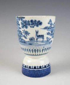 EARLY TRANSFERWARE EGG CUP w/ STAG Staffordshire PEARLWARE Antique Pottery Blue   eBay