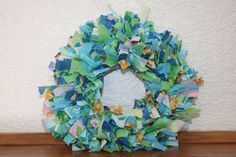 Summer Sky  Mini Rag Wreath in various sizes and colors. $15.00, via Etsy.