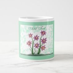 """Peaceful Flowers"" Jumbo Mug - flowers floral flower design unique style"