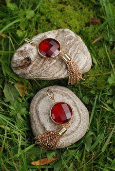 Red Gem and Tassels Earrings