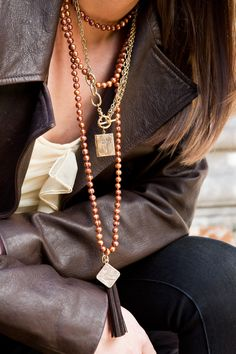 Throw on some beads with your chains. Or maybe even some pearls... Love it!