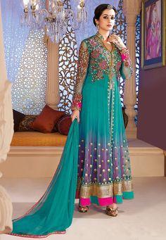 Turquoise Blue Net Anarkali Churidar Kameez Online Shopping: KGB2184