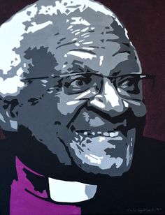 Portrait of Archbishop Desmond Tutu by David Mack. Acrylic on canvas.