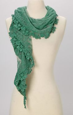 Young Essence Green Lace Scarf