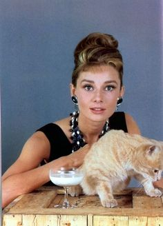 Audrey Hepburn with 'cat', Breakfast at Tiffany's.