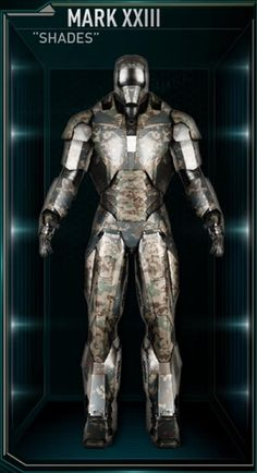 "The Mark 23 (Mark XXIII), also known by its name as ""Shades"", is a Extreme Heat Suit, and was one of several new Iron Man Armors created by Tony Stark..."