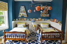 The How-To Crew: 10 Cute Shared Boys Bedroom Ideas- love the shelf for books around the perimeter of the room!!
