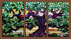 """3pc. Antique American Stained Glass Scenic Set 8'5"""" x 4'5"""" overall  fid8002a-c"""