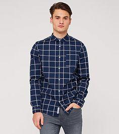 Kariertes Baumwollhemd in der Farbe dunkelblau bei C&A