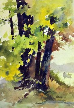 Tree Study by Bill Vrscak Watercolor Painting Techniques, Watercolor Artists, Watercolor Sketch, Watercolour Painting, Painting & Drawing, Watercolors, Watercolor Landscape Tutorial, Simple Watercolor, Abstract Landscape