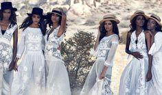 varvahra: Leila Nda, Aya Jones, Imaan Hammam, Malaika Firth, Tami Williams and Kai Newman photographed by Peter Lindbergh for Vogue March 2015.