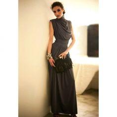 $14.46 Open Back Turtle Neck Sleeveless Black Maxi Dress For Women