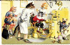 Cartão Postal Alfred Mainzer Original ~ Gatos no dentista pregando peças # 4990 in Colecionáveis, Cartões postais, Animais | eBay