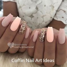 43 Beautiful Prom Nails for Your Big Night Pretty Pink and Glitter Coffin. - 43 Beautiful Prom Nails for Your Big Night Pretty Pink and Glitter Coffin Nails Ahead of the prom Cute Nails, Pretty Nails, My Nails, Hair And Nails, Peach Nails, Coral Pink Nails, Peach Nail Art, Peach Colored Nails, Light Colored Nails