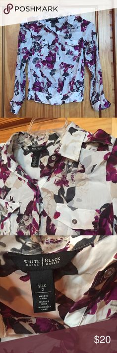 100% Silk WHBM Blouse White 100% silk with tan and purple watercolor flowers. Beautiful button down with silver detail buttons. 30% off bundles! White House Black Market Tops Blouses