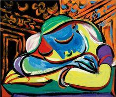 Reproduction de Picasso, Jeune fille endormie. Tableau peint à la main dans nos ateliers. Peinture à l'huile sur toile.