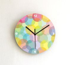 Hey, I found this really awesome Etsy listing at https://www.etsy.com/listing/160629191/wall-clock-rainbow-colorful-soft-pastel