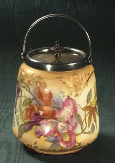 English china biscuit barrel with multicolor floral decoration, c. 1900