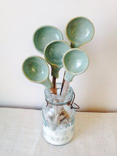Rustic Sage Driftwood & Ceramic Serving Spoons on Etsy, $25.00