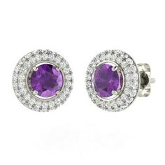 Amethyst  and Diamond  Studs Earring in 14k White Gold