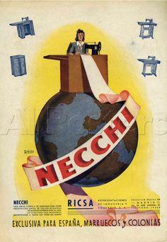 Solid-Faced Canvas Print Wall Art Print entitled Necchi Sewing Machine Advertisement, None Look Vintage, Vintage Prints, Vintage Art, Vintage Buttons, Vintage Italian Posters, Poster Vintage, Sewing Equipment, Vintage Sewing Machines, Sewing Art