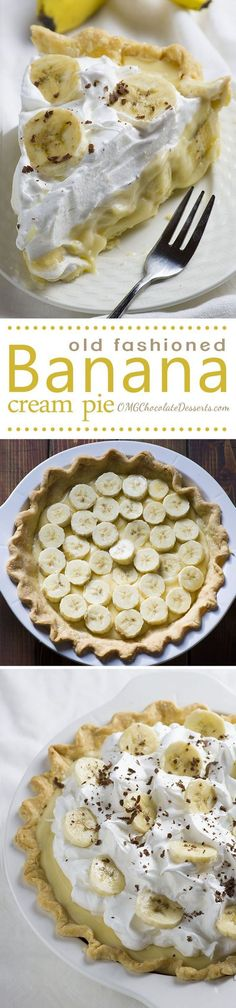 Old Fashioned Banana Cream Pie is from scratch homemade pie recipe like your grandmas used to make. A tender, flaky crust piled high with bananas and creamy vanilla pudding. (Dessert Recipes From Scratch) Brownie Desserts, Chocolate Desserts, Just Desserts, Delicious Desserts, Dessert Recipes, Yummy Food, Pie Recipes, Recipies, Baking Desserts