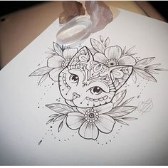 Decorative floral cat - created and tattooed by Jessika Campos - Tattoo - . - Decorative floral cat – created and tattooed by Jessika Campos – Tattoo – cat - Cat Tattoo Designs, Flower Tattoo Designs, Flower Tattoos, Nature Tattoos, Body Art Tattoos, Tattoo Drawings, Mandala Tattoo Design, Egyptian Cat Tattoos, Maching Tattoos
