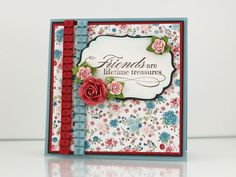 I was drawn in by the vintage look, ribbon, and 3D flowers.  This is one I might tweak a little as I make my version.  Products:  Stampin' Up!'s Twitterpated line, flowers from Prima, label from Spellbinders, greeting from Hero Arts.  Makeover Monday Card Inspired by Lisa. Johnson