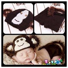 Baby Infant New Born Monkey Crochet Party Shower Costume Photo Photography Prop | eBay