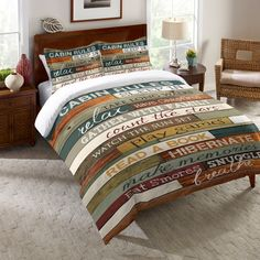 Reminisce on your cabin vacation with the Laural Home Cabin Rules Comforter. Featuring 14 wonderful rules for a relaxing vacation, the art-inspired bedding is the perfect addition to any rustic décor. Lake Rules, Lake Signs, Online Bedding Stores, Bed Sets, Cozy Cabin, Cabin Homes, Log Homes, Comforter Sets, 1 Piece
