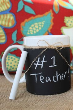 The perfect Teacher Gift! Chalkboard and Burlap Mug. Chalkboard Teacher Gift Eightysix56.etsy.com