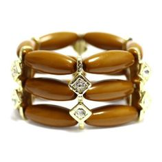 "Fashion Stretch Bracelet; 1.5""L; Gold Metal; Tan Beads; Clear Rhinestones; Eileen's Collection. $19.99. Save 50% Off!"