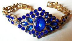 Art Deco Bracelet Blue Sapphire Rhinestones by BrightgemsTreasures, $74.50
