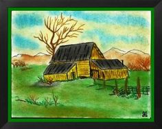 Greenland Farmhouse: Sketched from a painting I liked. Then colored with color pencils and color chalk.