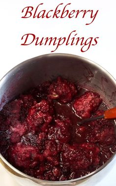 These Blackberry Dumplings are big and fluffy and float in a luscious blackberry syrupy juice. They are great served with a scoop of vanilla ice cream. Fruit Recipes, Summer Recipes, Dessert Recipes, Blackberry Recipes, Pie Recipes, Sweet Dumplings, Homemade Dumplings, Dumpling Dough, Dumpling Recipe