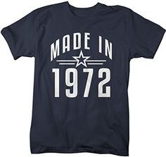 Shirts By Sarah Men's Made In 1972 Birthday T-Shirt Retro Star Custom Shirts