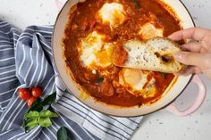 Shakshuka is a classic Middle Eastern dish that's become popular the world over. In this version, Thai curry flavours are worked in, creating a rich and spicy base for perfectly runny eggs. This is homemade brunch sorted. Thai Recipes, Asian Recipes, Recipes With Vegetable Oil, Asian Food Channel, Shakshuka Recipes, Runny Eggs, Middle Eastern Dishes, Thai Dishes, Learn To Cook