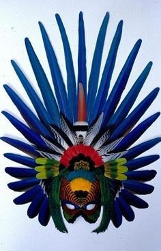 Blue Aztec Mask made from natural non-dyed feathers by Gwen Bennett