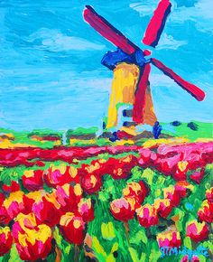Windmill And Tulips Painting