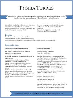 Marketing Resume. Visual Presentation Of Marketing Experience In The  Raleigh Area. Looking For #