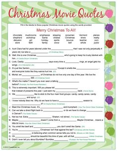 CHECK FOR LOTS OF GAMES Christmas Movie Quotes game - fill-in-the-blank quotes from Christmas movie classics and some newer Christmas movies. Christmas Movie Quotes, Christmas Trivia, Merry Christmas To All, Christmas Activities, Christmas Printables, Christmas Traditions, Christmas Holidays, Christmas Ideas, Christmas Parties