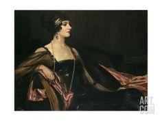 A Lady in Black: Portrait of Jean Ainsworth, Viscountess Massereene and Ferrard, 1917 Giclee Print by Sir John Lavery at Art.com