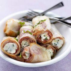 Ham and Goat Cheese Filo Rolls (Bricks au chèvre frais) Brick Chevre, Snack Recipes, Healthy Recipes, Warm Food, Appetisers, Light Recipes, I Foods, Food Inspiration, Food Videos