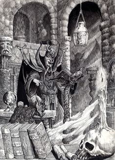 Artist: Tony Ackland  Title: unknown  Subject Matter: Wizard summoning  Date: unknown  Illustrated Location: Warhammer Fantasy Roleplay (1986), page 131, and Warhammer Fantasy Battles (1987), page 148  Dimension: 40cm x 28.6cm  Medium: Pen, ink, and pencil