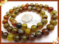 Dragon Vein Agate Gemstone Beads 8mm Yellow Mix by sugabeads, $5.25