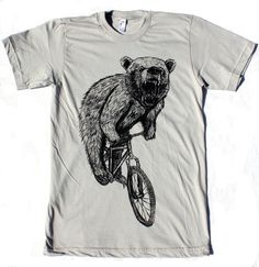 BICYCLE Tshirt Bear on a Bike Unisex American Apparel Silver Shirt on Etsy, $24.00